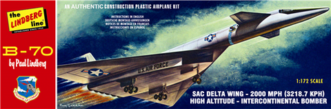 Lindberg Model Aircraft 1/172 B70 SAC Delta Wing High Altitude USAF Intercontinental Bomber Kit