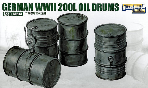 Lion Roar Military 1/35 WWII German 200L Oil Drums (4) Kit