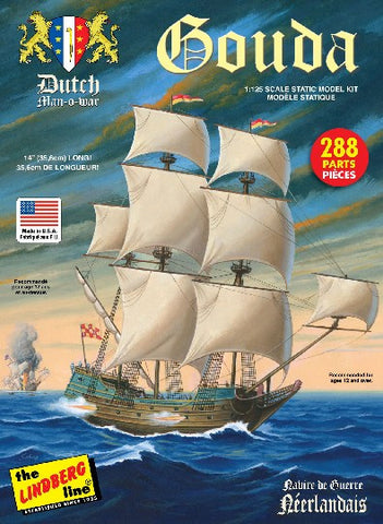 Lindberg Model Ships 1/25 Gouda Dutch Man-o-War Sailing Ship Kit