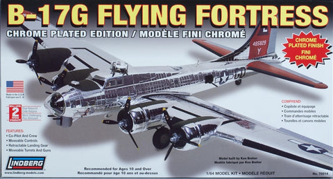 Lindberg Model Aircraft 1/64 B17G Flying Fortress Aircraft (Chrome Plated Edition) Kit