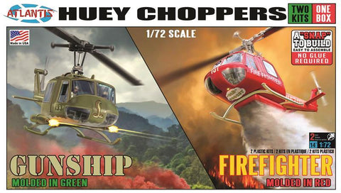 Atlantis Aircraft 1/72 Huey Choppers (2): US Army Gunship & Firefighter Helicopter Kit