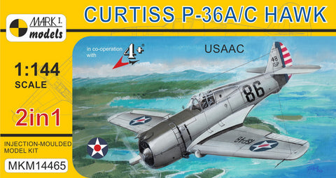 Mark I 1/144 Curtiss P36A/C Hawk USAAC Fighter (2 Kits)