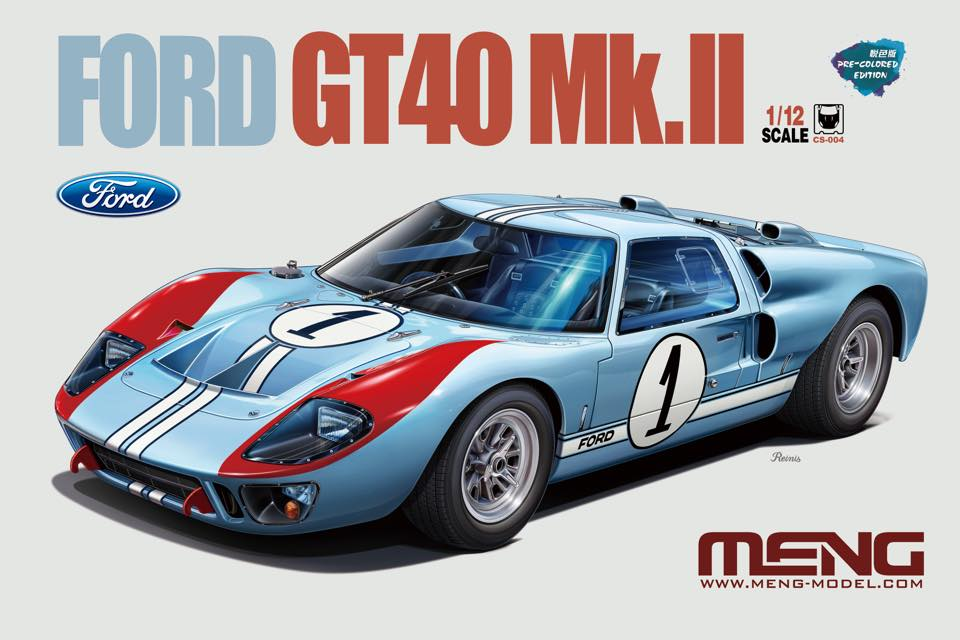 Meng Car Models 1/12 Ford GT 40 Mk II Race Car (New Tool) Kit