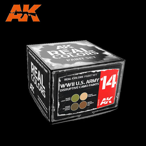 AK Interactive 	Real Colors: WWII US Army Disruptive Camo Acrylic Lacquer Paint Set (4) 10ml Bottles