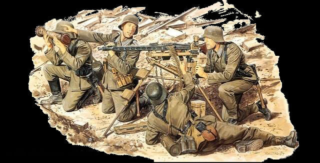 Dragon Military 1/35 German MG42 Heavy Machine Gun Team (4) Kit