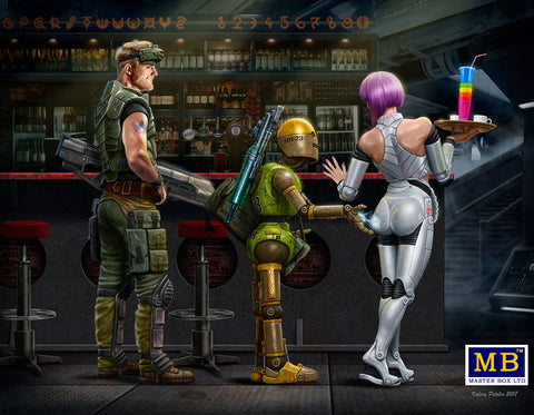 Master Box Sci-Fi 1/24 At the Edge of the Universe: Space Mercenary w/Heavy Gun, Robot & Android Waitress Holding Tray/Drinks Kit