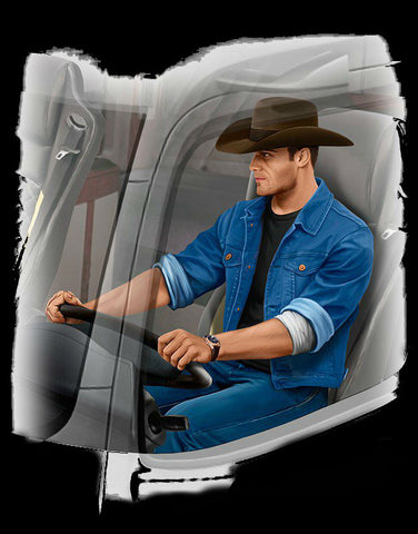 Master Box Cars 1/24 Mike Barrington Trucker Sitting wearing Cowboy Hat & Denim Jacket Kit