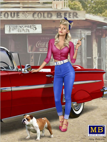 Master Box Ltd 1/24 1950-60s Pin-Up Girl wearing Tight Jeans/Low Cut Blouse and Dog Kit