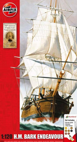 Airfix Ship Models 1/120 HMS Bark Endeavour Sailing Ship & Captain Cook 250th Anniversary Gift Set w/Paint & Glue