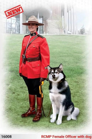 ICM Military 1/16 Royal Canadian Mounted Police Female Officer w/Dog (New Tool) Kit