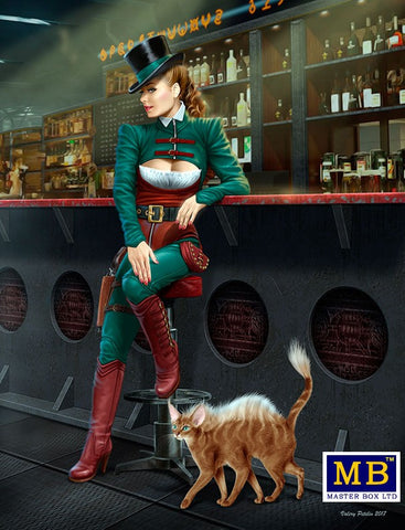 Master Box Sci-Fi 1/24 At the Edge of the Universe: Female Grifter Fancy Dressed Sitting on Stool Leaning on Bar Section (New Tool) Kit