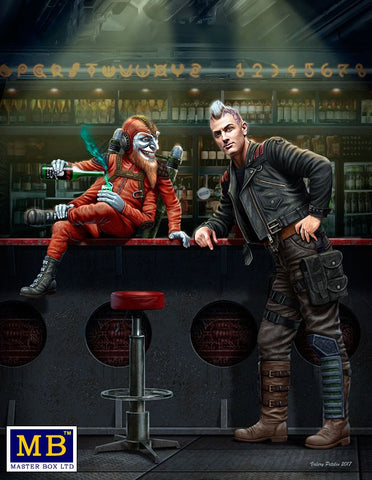 Master Box Sci-Fi 1/24 At the Edge of the Universe: Galactic Sheriff Leaning on Bar & Four-Armed Joker Creature Sitting on Bar Section Kit