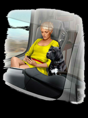 Master Box Cars 1/24 Joni Johnson Trucker Passenger Sitting w/Cell Phone & Dog Maxx Kit