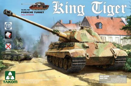 Takom 1/35 WWII German King Tiger SdKfz 182 Porsche Turret Heavy Tank w/Full Interior Kit