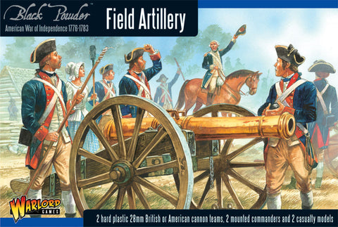 Warlord Games 28mm Black Powder: Field Artillery 1776-1783 (2 Mtd Figs, 2 Casualty Figs, 2 Cannons) (Plastic) Kit