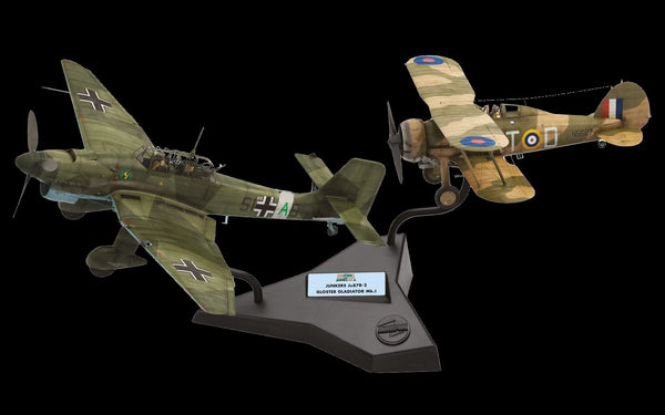 Airfix Aircraft 1/72 Junkers Ju87R2 & Gloster Gladiator Mk I Dogfight  Doubles Gift Set w/paint & glue