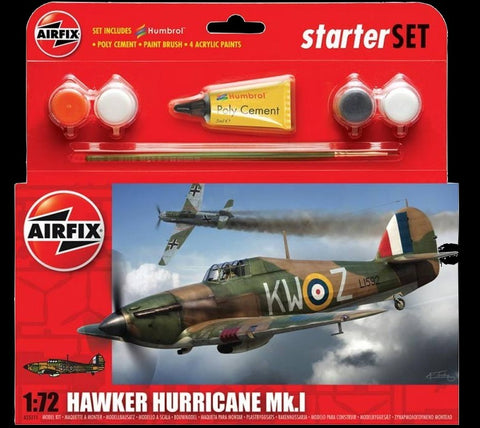 Airfix Aircraft 	1/72 Hawker Hurricane Mk I Fighter Small Starter Set w/paint & glue