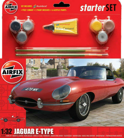 Airfix Car Models 1/32 Jaguar E Type Car Medium Starter Set w/Paint & Glue