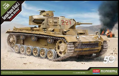 Academy Military 1/35 German Panzer III Ausf J Tank North Africa (New Tool) Kit