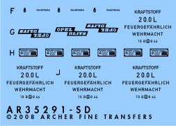 Archer Fine Transfer 1/35 Opel Blitz Instruments, Placards & Details for TAM