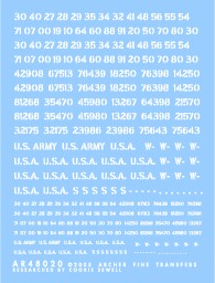 Archer Fine Transfers 1/48 US Vehicle Registration Codes (White Stencil)