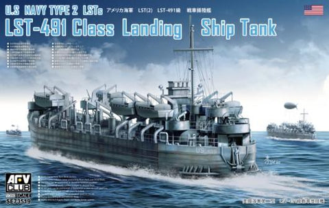 AFV Club Ships 1/350 USN LST491 Class Type 2 Landing Ship Tank (New Tool) Kit