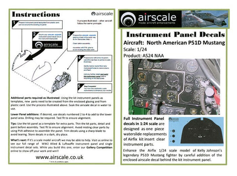 Airscale Details 1/24 NA P51D Mustang Instrument Panel (Decal)