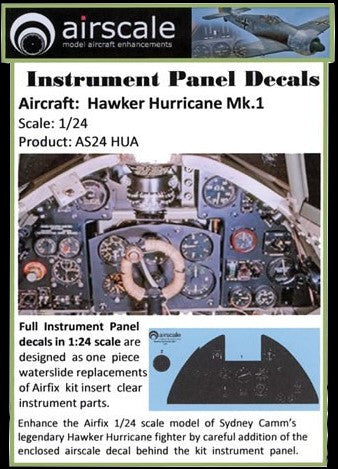 Airscale Details 1/24 Hawker Hurricane Mk I Instrument Panel (Decal)