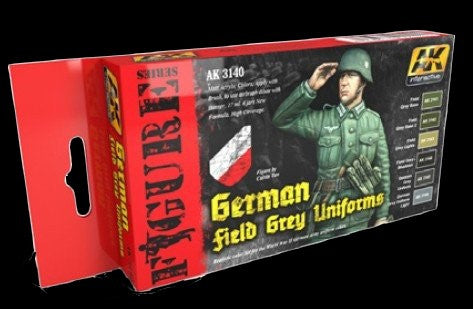 AK Interactive Figure Series: German Field Grey Uniforms Acrylic Paint Set (6 Colors) 17ml Bottles