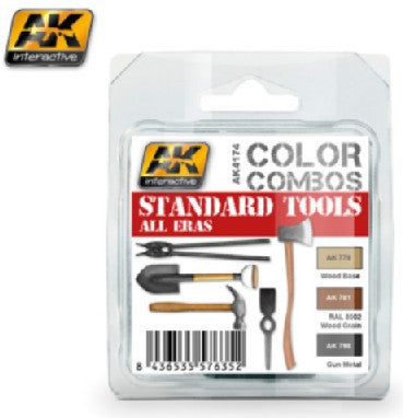 AK Interactive Color Combos: Standard Tools All Eras Acrylic Paint Set (3 Colors) 17ml Bottles