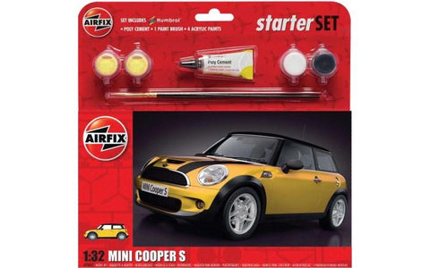 Airfix Car Models 1/32 Mini Cooper S Car Large Starter Set w/paint & glue Kit