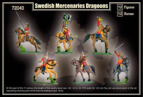 Mars Military 1/72 Thirty Years War Swedish Mercenaries Dragoons (12 Mtd) Kit