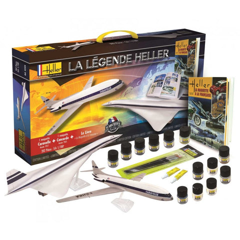 Heller Aircraft 1/100 Caravelle & Concorde Air France Airliners w/Paint, Glue & Heller History Book-French (60th Anniversary Ltd Re-Edition Kit