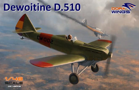 Dora Wings 1/48 Dewoitine D510 Spanish Civil War Monoplane Fighter (New Tool) Kit