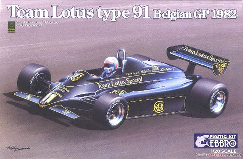 Ebbro Model Cars 1/20 1982 Lotus Type 91 Team Lotus F1 Belgian Grande Prix Race Car Kit
