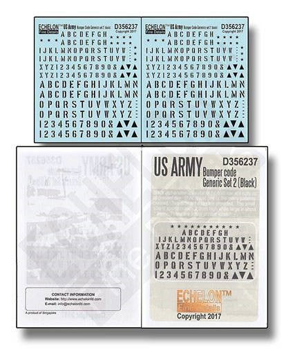 Echelon Decals 1/35 US Army Bumper Code Generic Set 2 (Black)