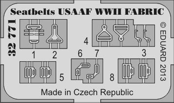 Eduard Details 1/32 Aircraft- Seatbelts Fabric-Type USAAF WWII