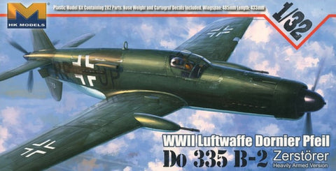This is a highly detailed plastic model kit of the HK Models 1/32 scale German Luftwaffe WWII Dornier Do.335B-2 Interceptor aircraft.