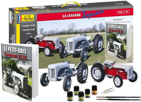 Heller Model Cars 1/24 Ferguson TS20 & FF30 Farm Tractors w/Paint, Glue & Ferguson History Book-French 60th Anniversary Ltd. Re-Edition Kit