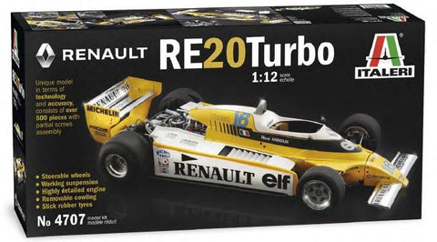 Italeri Model Cars 1/12 Renault RE20 Turbo Formula 1 Race Car Kit