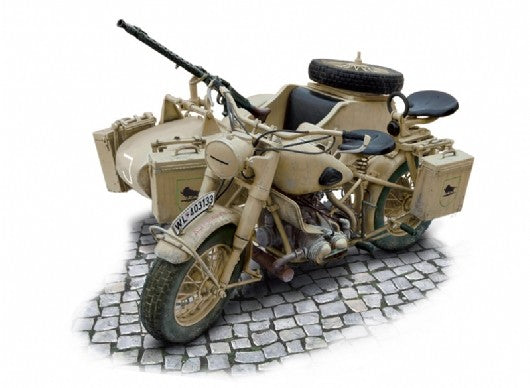 Italeri Military 1/9 BMW R75 German Military Motorcycle w/Sidecar Kit