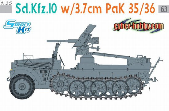 Cyber-Hobby Military 1/35 SdKfz 10 Halftrack w/3.7cm PaK Gun Ltd. Edition Orange Box Kit