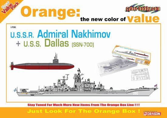 Cyber-Hobby Ships 1/700 Soviet Admiral Nakhimov Warship & USS Dallas SSN700 Nuclear Submarine Kit