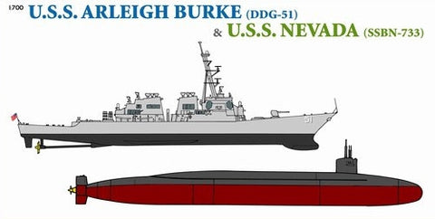 Cyber-Hobby Ships 1/700 USS Arleigh Burke Destroyer & Nevada Submarine Kit
