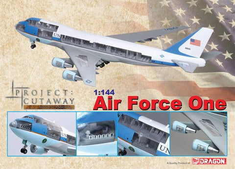 Dragon Models Aircraft 1/144 Visible 747-400 Air Force One Airliner (Prepainted & Partially Assembled) w/Cutaway Views Kit