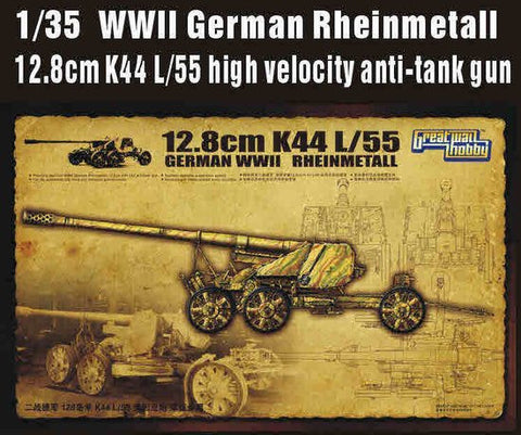 Lion Roar Military 1/35 WWII German Rheinmetall 12.8cm K44 L/55 High Velocity Anti-Tank Gun Kit