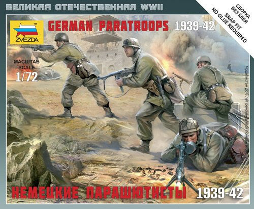 Zvezda Military 1/72 German Paratroopers 1939-42 (4) (Snap Kit)