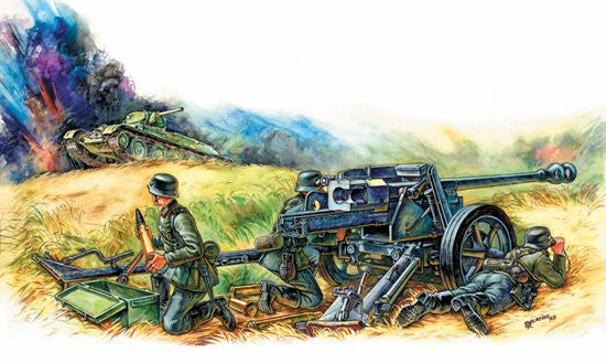 Zvezda Military 1/72 German Pak 40 Anti-Tank Gun w/3 Crew (Snap Kit)