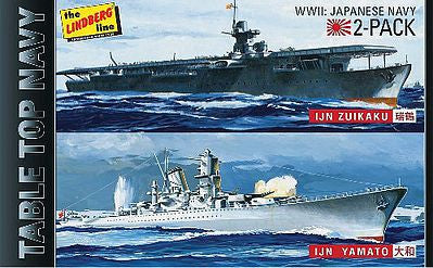 Lindberg Model Ships 1/1200 Tabletop Navy: IJN Yamato Battleship & Zuikaku Aircraft Carrier (2 Kits)