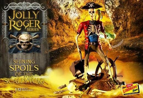 Lindberg Model Ships 1/12 Jolly Roger Shining Spoils of the Scallywag Diorama: Skeletons & Treasure Chest Kit